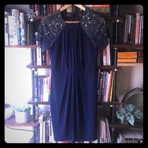 Sparkle top, short navy dress with keyhole